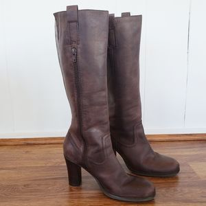 nicole 6.5 Heeled Brown Leather Boots